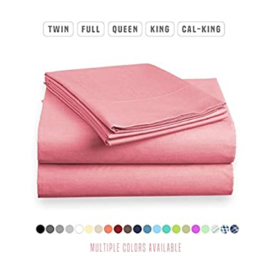 Luxe Bedding Sets - Microfiber Twin Sheet Set 3 Piece Bed Sheets, Deep Pocket Fitted Sheet, Flat Sheet, Pillow Case Twin Size - Light Pink