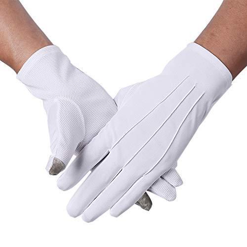 JISEN Men Formal Tuxedo Honor Guard Parade Nylon Cotton Non-slip Touchscreen Gloves