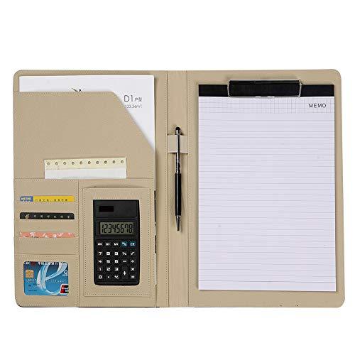 Carpeta de Documentos A4,Carpeta de Conferencias, Carpeta Organizadora Personal Agenda, funciones múltiples Carpeta comercial Organizador de oficina con calculadora Nota Papel Pluma