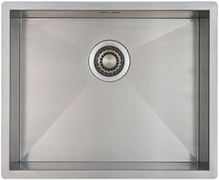 Fregadero de Cocina Mizzo Quadro 50-40 | Acero Inoxidable 304 | Mueble de 60 cm | Montaje Bajo o Sobre Encimera o al Ras | Radio 0mm | 1 Seno