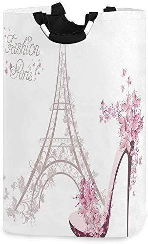Cesto de ropa plegable de tela con asas - Clasificador de ropa sucia - Fácil almacenamiento - Plegable - Torre Eiffel y tacones altos rodeados de mariposas