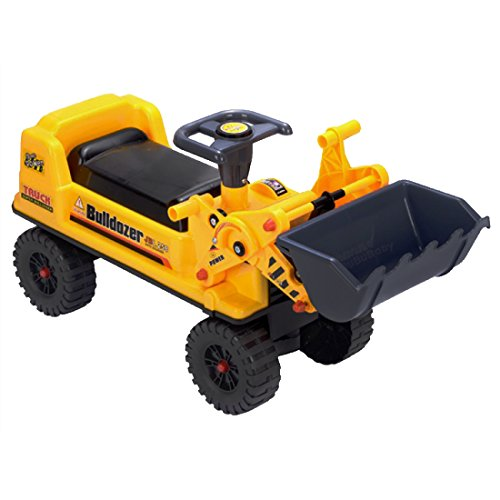 deAO Ride On Toy Bulldozer Truck for Toddlers Sit On Digger with Manual Excavator Scoop, Horn and Additional Storage Underneath Seat