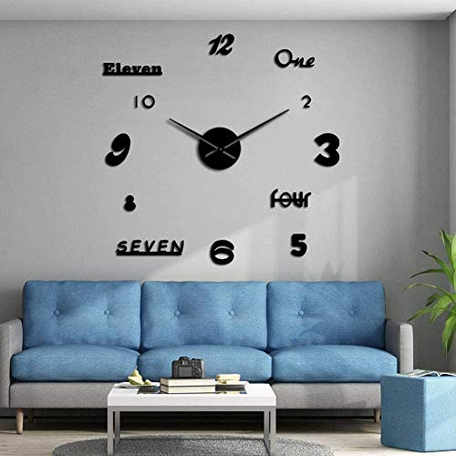3D DIY wandklok DIY reusachtige moderne 3D DIY acryl spiegel sticker Home Decoration woonkamer kwarts grote naald wijzer klok woonkamer slaapkamer decoratie