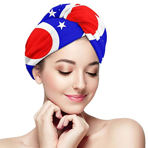 American Flag Ohio State Map Dry Hair Cap Microfibre Hair Towel Wraps Ultra Absorbent Quick Dry Twist Turban with Button for Drying Curly Long Thick H