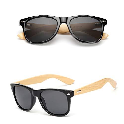 Eye-nak Gafas de sol de madera UV400, unisex, con patillas de bambú, diferentes colores, C1,
