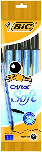 Bic Cristal Soft Punta Media 1,2 mm Confezione 4 Penne con Cappuccio Colore Nero