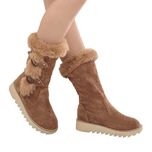 Geili Winterstiefel Damen Schneestiefel Wasserdicht Warm Gefüttert Winterschuhe Stiefelette Outdoor Boots Arbeitsschuhe Schneestiefel Wandern Arbeitsstiefel Schnalle Flache Boots
