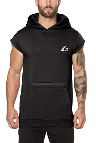 Mens Athletic Workout Hoodie Cap Sleeveless Shirt Weightlifting Bodybuilding Tank Top (M Black£