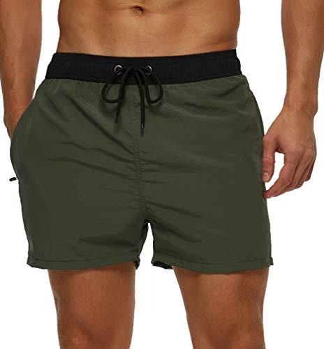 SILKWORLD Men's Slim Swim Shorts Quick Dry Bathing Suit with Zipper Pockets Solid Sports Swim Trunks, Army Green_Side Zipper, X-Large