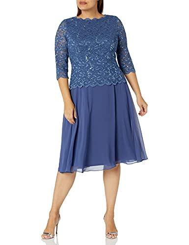 Alex Evenings Women's Tea Length Sequin Mock Dress (Petite and Regular), Wedgewood, 14