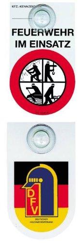 Original DFV Feuerwehr Kennzeichnungsschild zweiseitig bedruckt. Auf der Vorderseite kann das KFZ-Zeichen durch Stempelaufdruck der Ordnungsbehörde bestätigt werden.