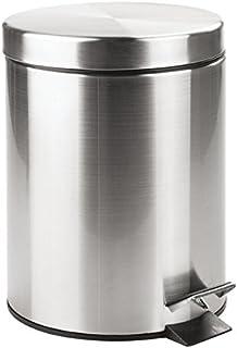 comprar comparacion mDesign Cubo de basura con tapa y pedal – Moderna papelera de baño de acero resistente con recipiente interior extraíble –...