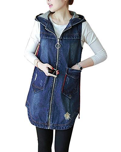 Cappotto Jeans Donna Lunga Vintage Moda Incappucciato Gilet Jeans Primaverile Autunno Chic Smanicato con Cerniera Baggy Casual Eleganti Denim Gilet Giacche Jeans Ragazza (Color : Blu, Size : L)