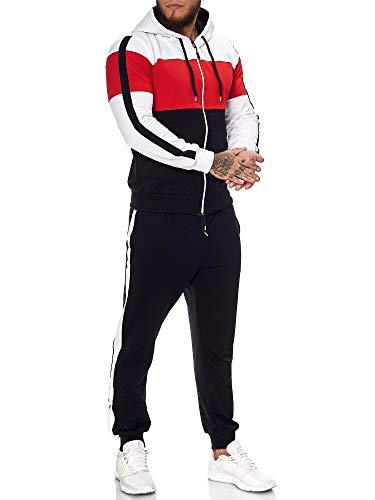 OneRedox | Herren Trainingsanzug | Jogginganzug | Sportanzug | Jogging Anzug | Hoodie-Sporthose | Jogging-Anzug | Trainings-Anzug | Jogging-Hose | Modell JG-1082 (XL, Weiss-Rot-Schwarz)