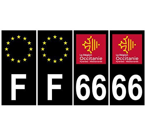 Supstick 4 stickers, nummerborden, voor auto, Dept 66, okcitanie, zwart, vierkante hoeken