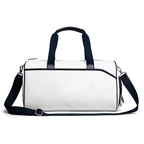 NeoMcc Multi-Purpose Fitness Duffle Bags Golf Duffel Bag for Men and Women Light Weight Sports Gym Travel Handbag with Shoe Compartment Unisex (Color : White, Size : 50x23x25cm)