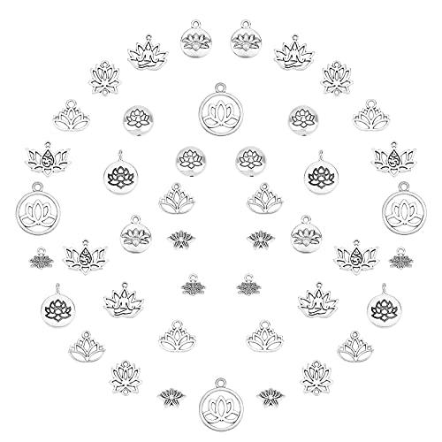 SUNNYCLUE 1 caja de 88 piezas de 11 estilos de Lotus Yoga Om Ohm Flower Charms Colgantes Enlaces Conectores Perlas Joyería Accesorios para DIY Pendientes Collar Pulsera Joyería Fabricación