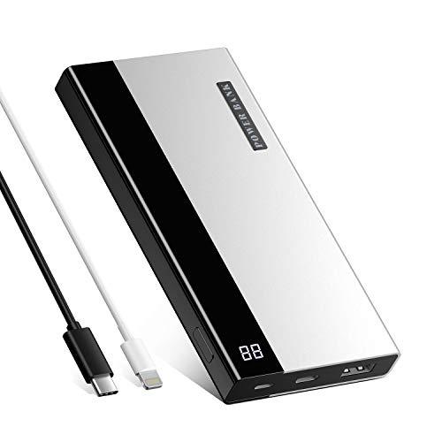 Ombar Batería Externa 20000mAh Power Bank para Móvil Carga Rapida Cargador Portátil con 2 Entradas y 2 Puertos USB para Smartphones Tabletas-Argentado