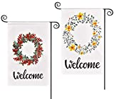 Swiftion 2 Pack Spring Garden Flags 12x18 Inch Welcome Burlap Garden Flags, Vertical Double Sided Design Yard Flag for Outside Farmhouse Garden Decoration