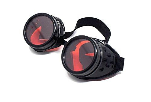 UltraByEasyPeasyStore Ultra Schwarz mit Roten Linsen Steampunk Brille Gläsern Cyber Viktorianischer Punk Schweißen Cosplay Goth Round Niet Vintage Rave Neuhei