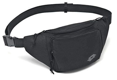 Lotto Waist Bag Team II Pk6Pcs - Riñonera para Hombre, Color Negro/Gris, Talla 1