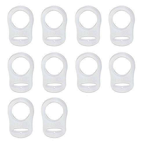 Istloho 10X Silikonknopfring Silikonring Schnuller Halter Clip Adapter für Baby Schnuller Schnullerketten, transparent