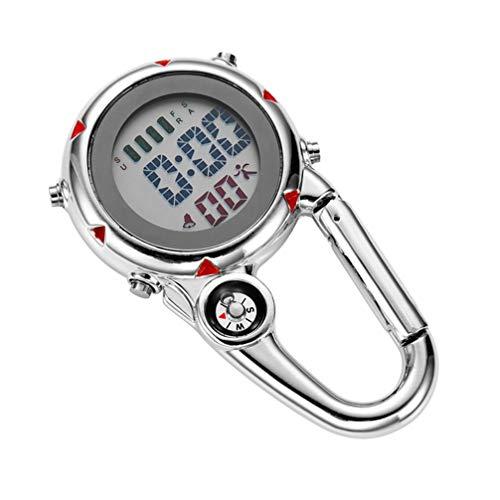 Homoyoyo Correa Aire Libre Fob Reloj Mosquetón Reloj Cuarzo Clip en Mini Reloj Unisex Reloj de Bolsillo