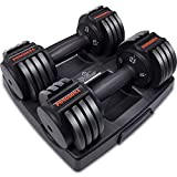 Pongsona Adjustable Dumbbells Set - 2 Adjustable Weight Dumbbells with Anti-Slip Metal Handle, Fast Adjust Weight by Turning Handle, Light 2.5 lb-12.5 lb Adjustable Dumbbells Set of 2