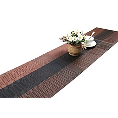 SHACOS Woven Vinyl Table Runner for Kitchen Dining Table,Easy to Clean Washable Woven Vinyl (Ombre Coffee and Black,12 by 71 inch)