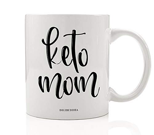 WTOMUG Keto MOM Coffee Tea Mug Gift Idea Ketogenic Low Carb High Protein Diet Lifestyle Weight Loss 11oz Ceramic Beverage Cup Christmas Birthday Present for Spouse Parent Mommy Mother