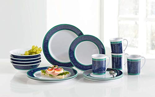 Gimex Melamin Campinggeschirr Picknickgeschirr Melamingeschirr Marble Blue 16 teilig für 4 Personen