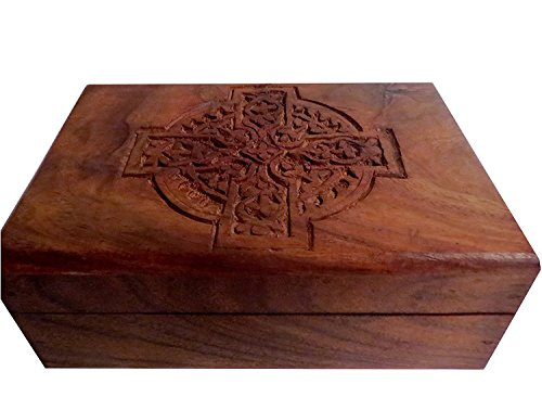 Wooden Carved Box/Wood Jewelry Box/Trinket/Keepsake/Storage Box 4'x 6' Celtic Cross WBX202