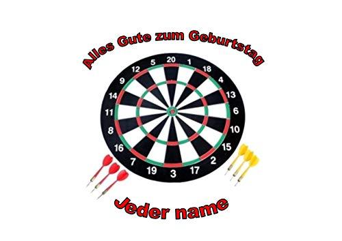 Dart-Dartscheibe-personalisierter Name 8-Zoll-runder Zuckerglasurdeckel Darts Dartboard Personalised Name 8 inch round icing topper