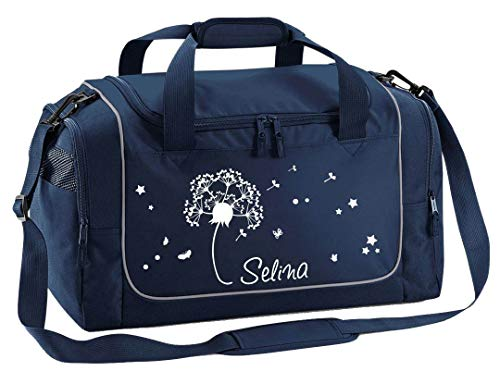 Mein Zwergenland Sporttasche Kinder Praktisch kompakt & robust Sporttasche mit Namen Pusteblume als Aufdruck Farbe French Navy Blau 38 L Stauraum die perfekte Sporttasche für Kinder