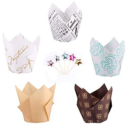Tallgoo muffinförmchen Papier,250 Stück Papierförmchen in Tulpenform,für Kinder Geburtstag Party Hochzeit Kuchen Deko und 50 Cupcake Topper