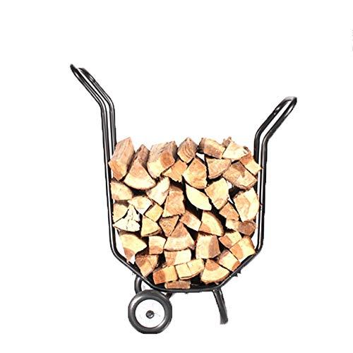 Kamin Log-Halter Außen Log Ständer, Movable Brennholz Anhänger Stapel Holzrahmen Feuerholz Frame - 79X39X92cm