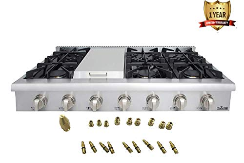 Thor Kitchen 48' Stainless Steel Gas Rangetop Cover Gas Stove Top Cooker Cooktops with with 6 Sealed Burners and Griddle- 1-Years-Warranty - with LP Conversion Kit