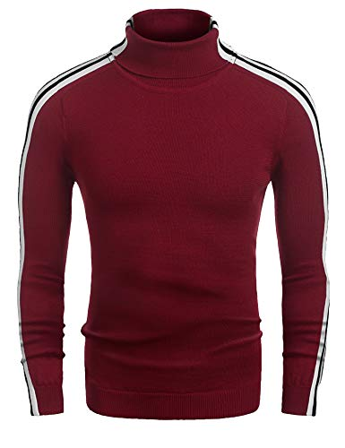 Coofandy Mens Casual Slim Fit Stripe Ribbed Knit Pullover Turtleneck Sweater, Red, Small