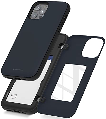 Goospery - Funda para iPhone 12, iPhone 12 Pro con tarjetero, funda protectora de doble capa (azul medianoche), IP12P-MDB-NVY