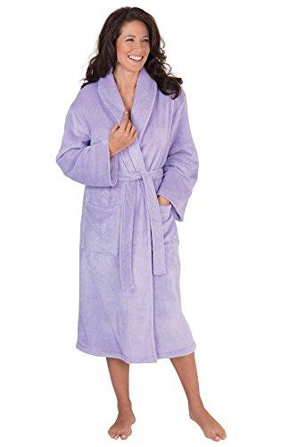 PajamaGram Fleece Robes for Women - Plush Bath Robe Womens, Lavender, M/L, 8-14