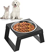 Pawaboo Elevated Dog Bowl, Foldable Metal Food Stand Stainless Steel Dog Food Water Feeding Bowl, with Non-Slip Mat Collapsible Pet Bowl, No Spill Raised Pet Bowls for Small Dog and Cat, Black