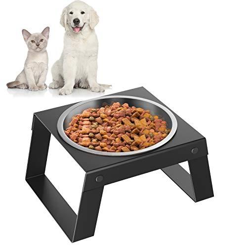 Pawaboo Ciotole per Cani Gatti, Ciotola per Animali Domestici, Distributore per Cani, Ciotola con Supporto Pieghevole, Ciotola in Acciaio Inox, Cibo di Alimentazione, Accessori Cani Gatti, Nero