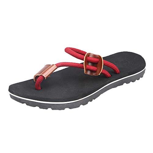 Herren Hausschuhe,SANFASHION Beiläufige Flache Schuhe Strand Sandaletten Outdoor rutschfeste Schuhe Roman Zehentrenner