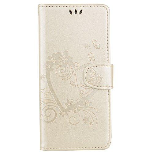 Docrax Galaxy Note 8 Handyhülle, Hülle Leder Case mit Standfunktion Magnetverschluss Flipcase Klapphülle kompatibel mit Samsung Galaxy Note8 - DORXZ020300 Gold