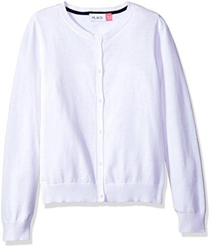 The Children's Place Big Girls' Uniform Cardigan Sweater, White 44422, Medium/7/8