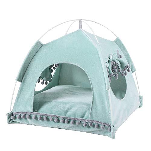 Cysincos Tente pour Chats d'été Pliable Panier pour Chat Portable Niche Chat Maison de Chat Tipi Chien Chat Coussin Amovible