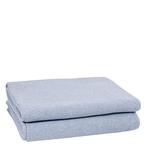 Soft-Wool-Decke – hochwertige Decke mit Häkelstich – flauschige Kuscheldecke aus Naturmaterialien – 160x200 cm – 505 powder blue – von 'zoeppritz since 1828'