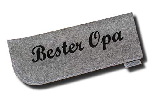 Brillenetui aus 100% Wollfilz Bester Opa Grau/Schwarz