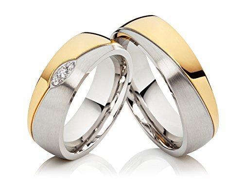 2 alianzas de boda anillos de compromiso anillos de acero inoxidable confies, Bicolor oro plateado, con 3 circonitas y grabado