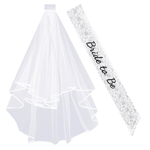 DECORA Bride to Be Bachelorette Veil Lace Sash with Ribbon Edge and Comb for Bachelorette Party Bridal Shower